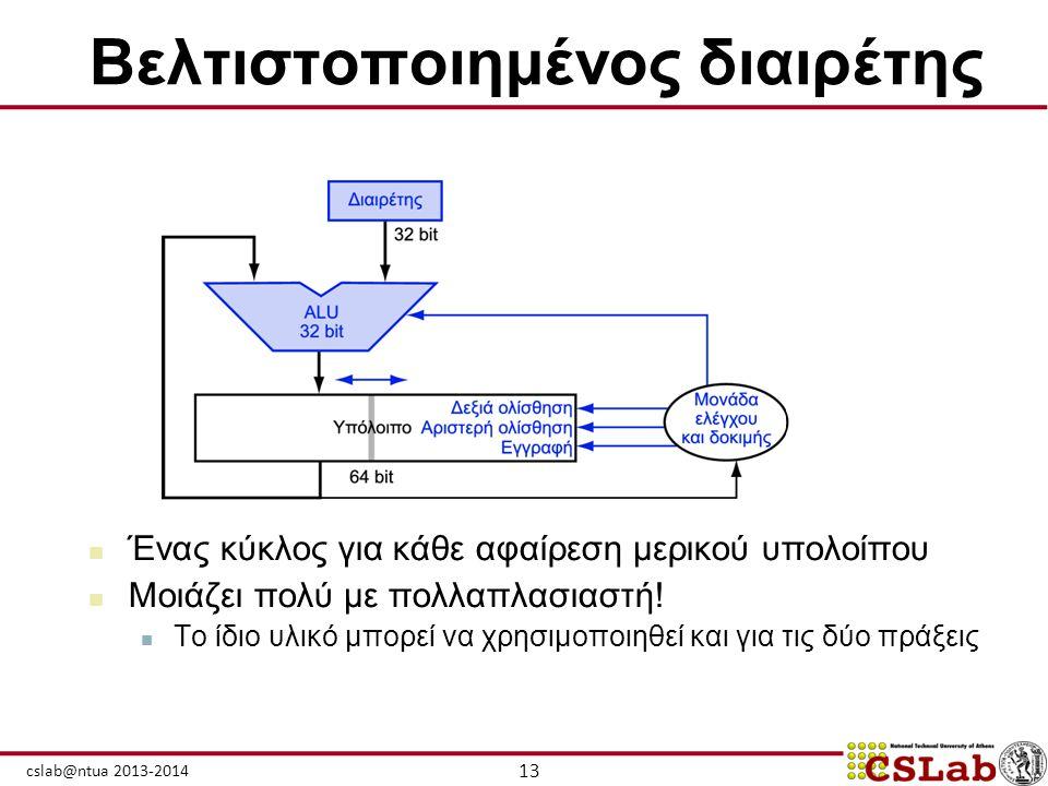 13 cslab@ntua 2013-2014 Βελτιστοποιημένος διαιρέτης  Ένας κύκλος για κάθε αφαίρεση μερικού υπολοίπου  Μοιάζει πολύ με πολλαπλασιαστή!  Το ίδιο υλικ