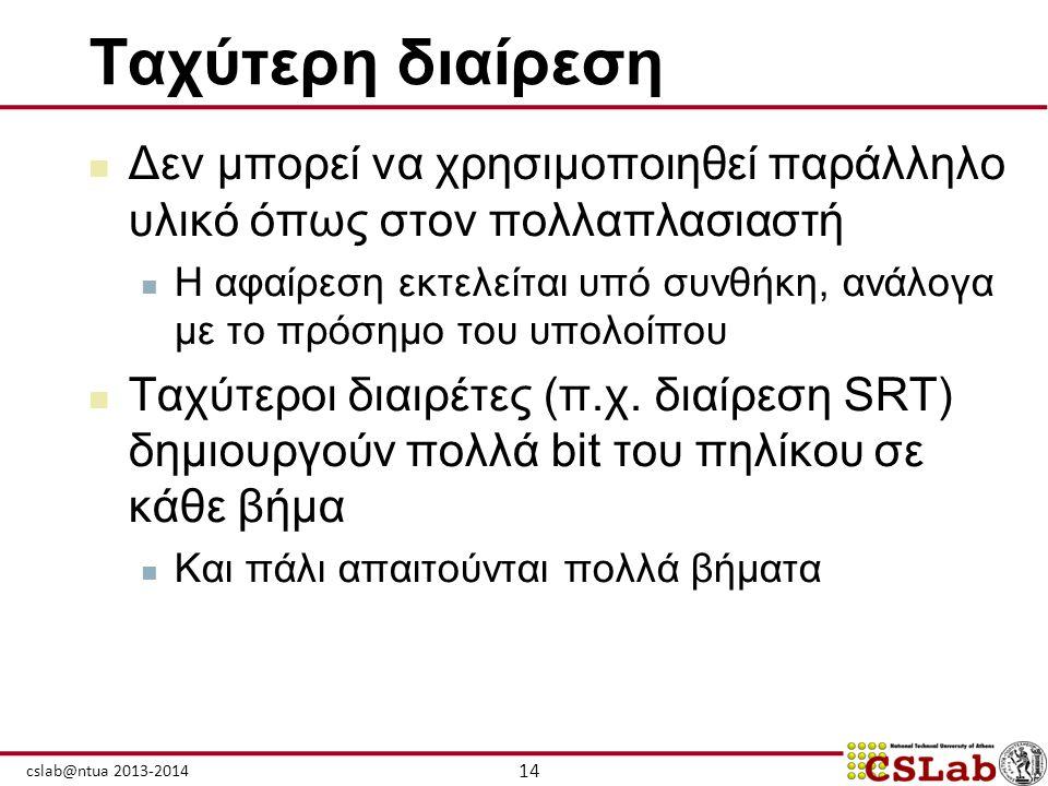 14 cslab@ntua 2013-2014 Ταχύτερη διαίρεση  Δεν μπορεί να χρησιμοποιηθεί παράλληλο υλικό όπως στον πολλαπλασιαστή  Η αφαίρεση εκτελείται υπό συνθήκη,