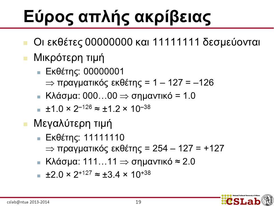 19 cslab@ntua 2013-2014 Εύρος απλής ακρίβειας  Οι εκθέτες 00000000 και 11111111 δεσμεύονται  Μικρότερη τιμή  Εκθέτης: 00000001  πραγματικός εκθέτη