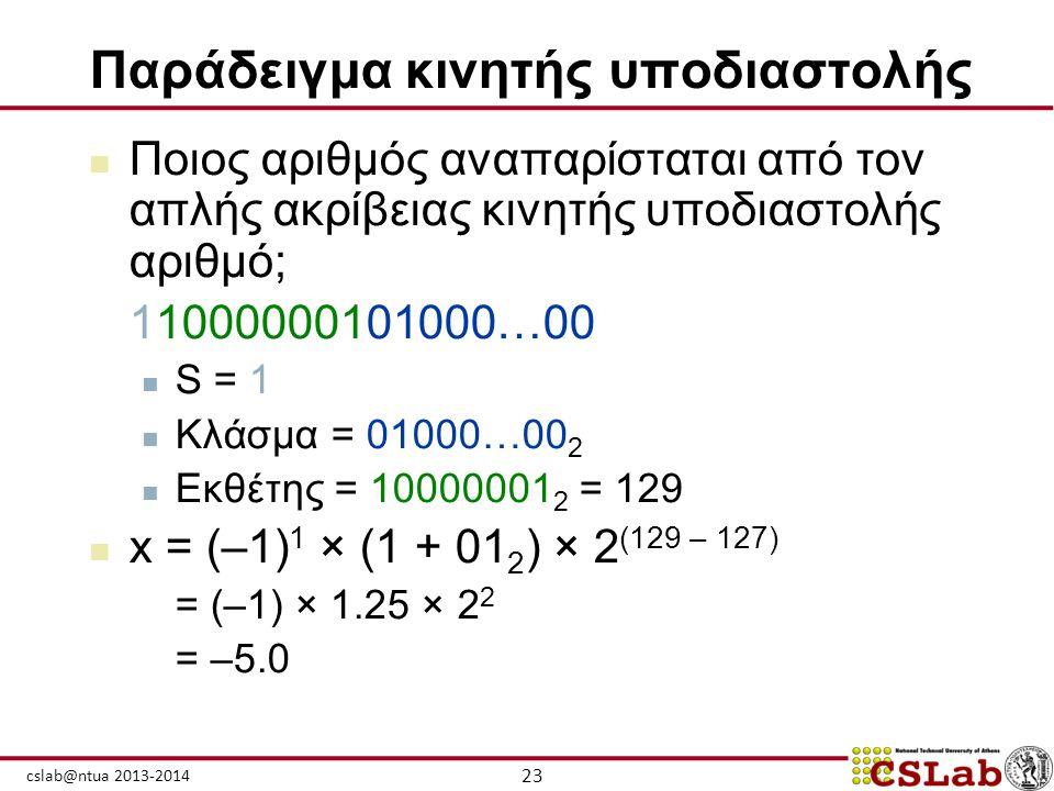 23 cslab@ntua 2013-2014 Παράδειγμα κινητής υποδιαστολής  Ποιος αριθμός αναπαρίσταται από τον απλής ακρίβειας κινητής υποδιαστολής αριθμό; 11000000101