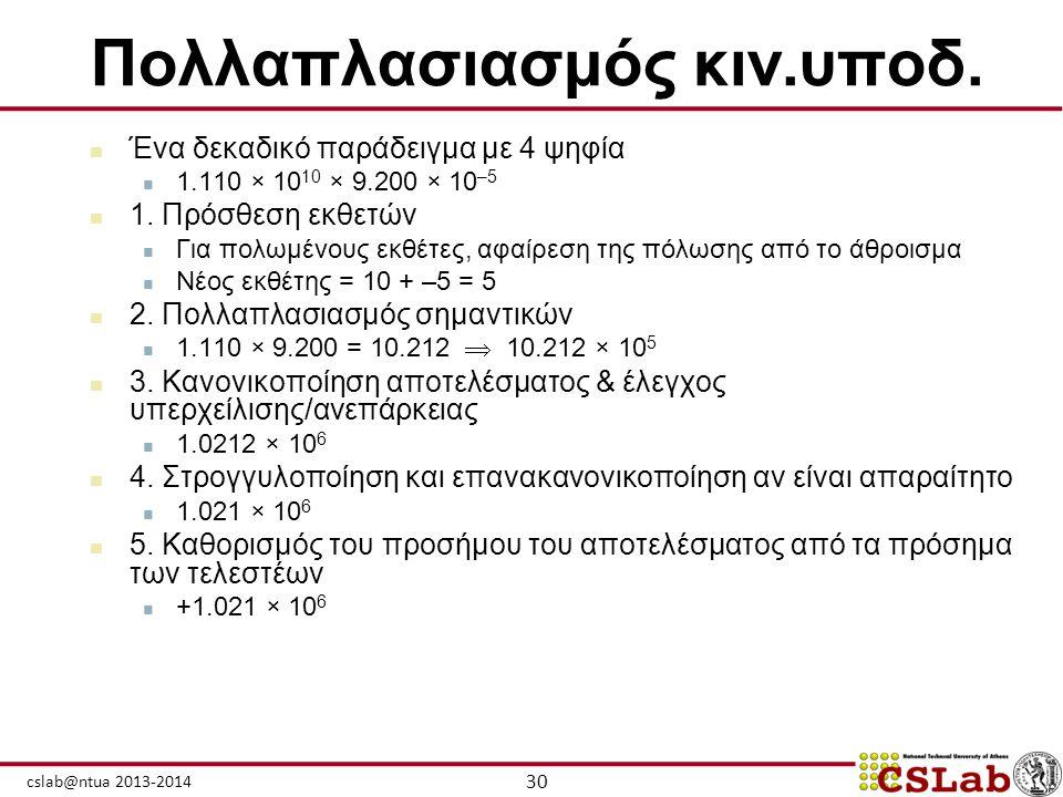 30 cslab@ntua 2013-2014 Πολλαπλασιασμός κιν.υποδ.  Ένα δεκαδικό παράδειγμα με 4 ψηφία  1.110 × 10 10 × 9.200 × 10 –5  1. Πρόσθεση εκθετών  Για πολ