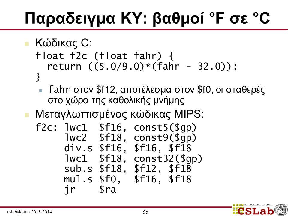 35 cslab@ntua 2013-2014 Παραδειγμα ΚΥ: βαθμοί °F σε °C  Κώδικας C: float f2c (float fahr) { return ((5.0/9.0)*(fahr - 32.0)); }  fahr στον $f12, απο