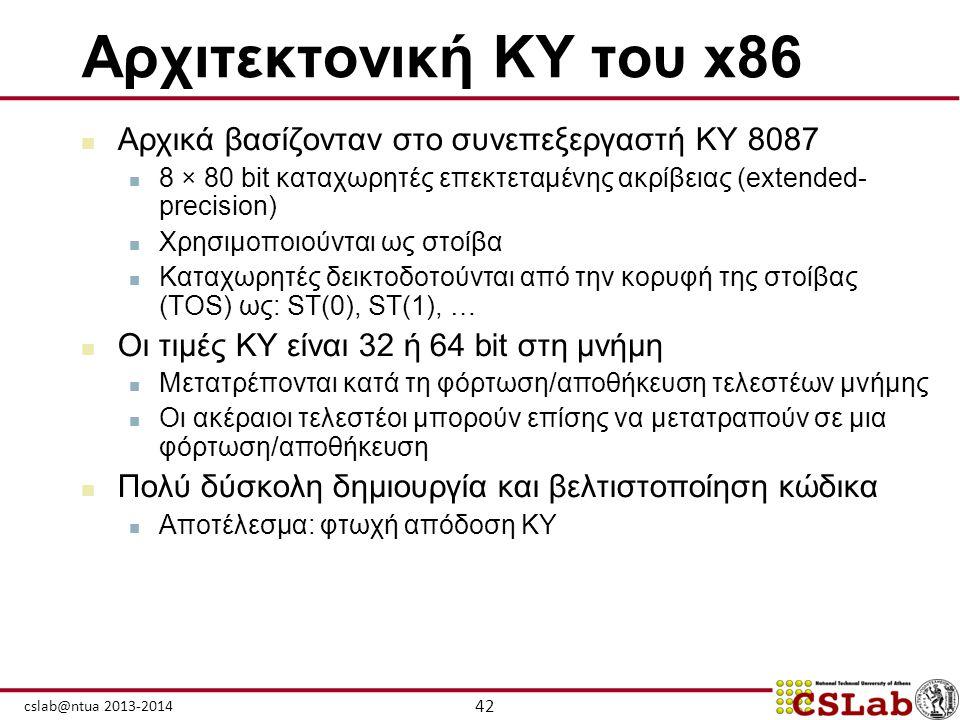 42 cslab@ntua 2013-2014 Αρχιτεκτονική ΚΥ του x86  Αρχικά βασίζονταν στο συνεπεξεργαστή ΚΥ 8087  8 × 80 bit καταχωρητές επεκτεταμένης ακρίβειας (exte