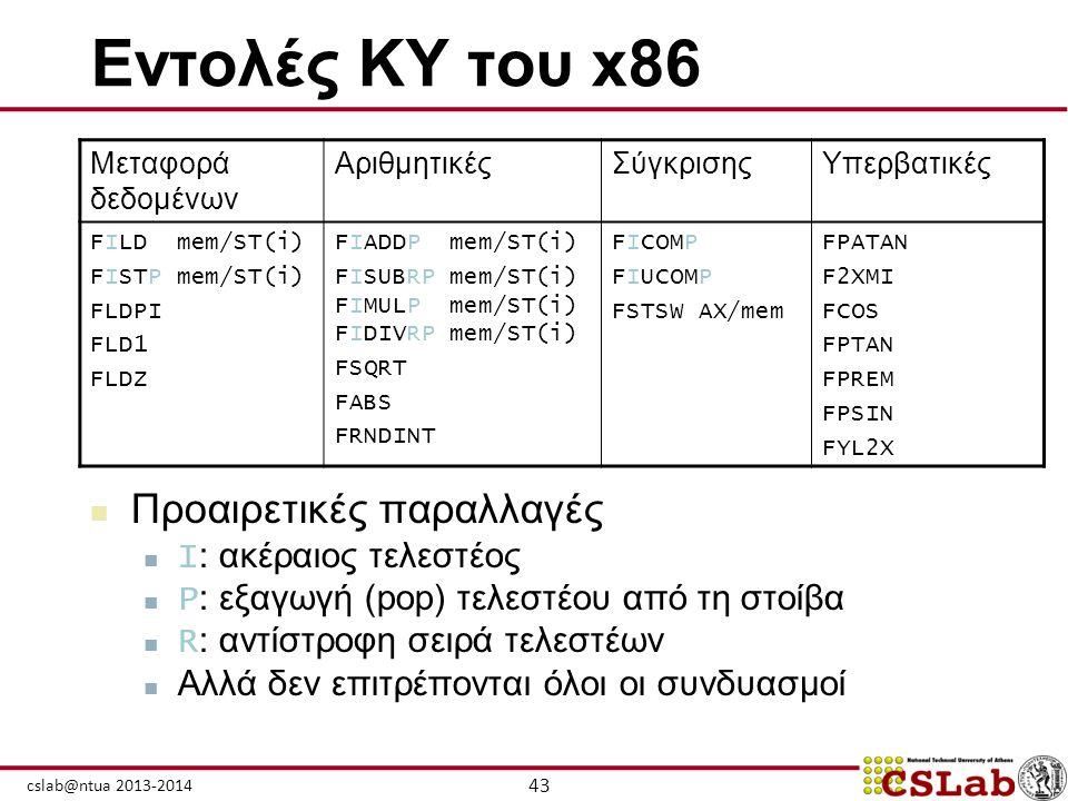 43 cslab@ntua 2013-2014 Εντολές ΚΥ του x86  Προαιρετικές παραλλαγές  I : ακέραιος τελεστέος  P : εξαγωγή (pop) τελεστέου από τη στοίβα  R : αντίστ