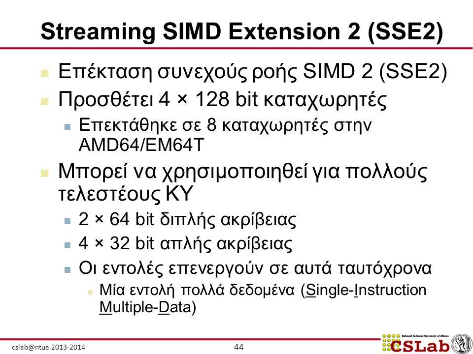 44 cslab@ntua 2013-2014 Streaming SIMD Extension 2 (SSE2)  Επέκταση συνεχούς ροής SIMD 2 (SSE2)  Προσθέτει 4 × 128 bit καταχωρητές  Επεκτάθηκε σε 8