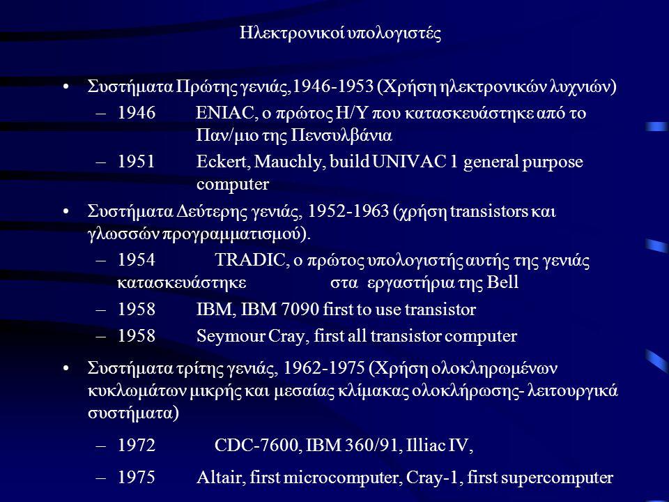 Ηλεκτρονικοί υπολογιστές •Συστήματα Πρώτης γενιάς,1946-1953 (Χρήση ηλεκτρονικών λυχνιών) –1946 ENIAC, ο πρώτος Η/Υ που κατασκευάστηκε από το Παν/μιο τ
