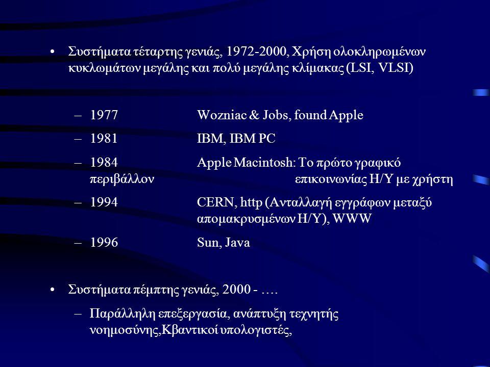 •Συστήματα τέταρτης γενιάς, 1972-2000, Χρήση ολοκληρωμένων κυκλωμάτων μεγάλης και πολύ μεγάλης κλίμακας (LSI, VLSI) –1977Wozniac & Jobs, found Apple –
