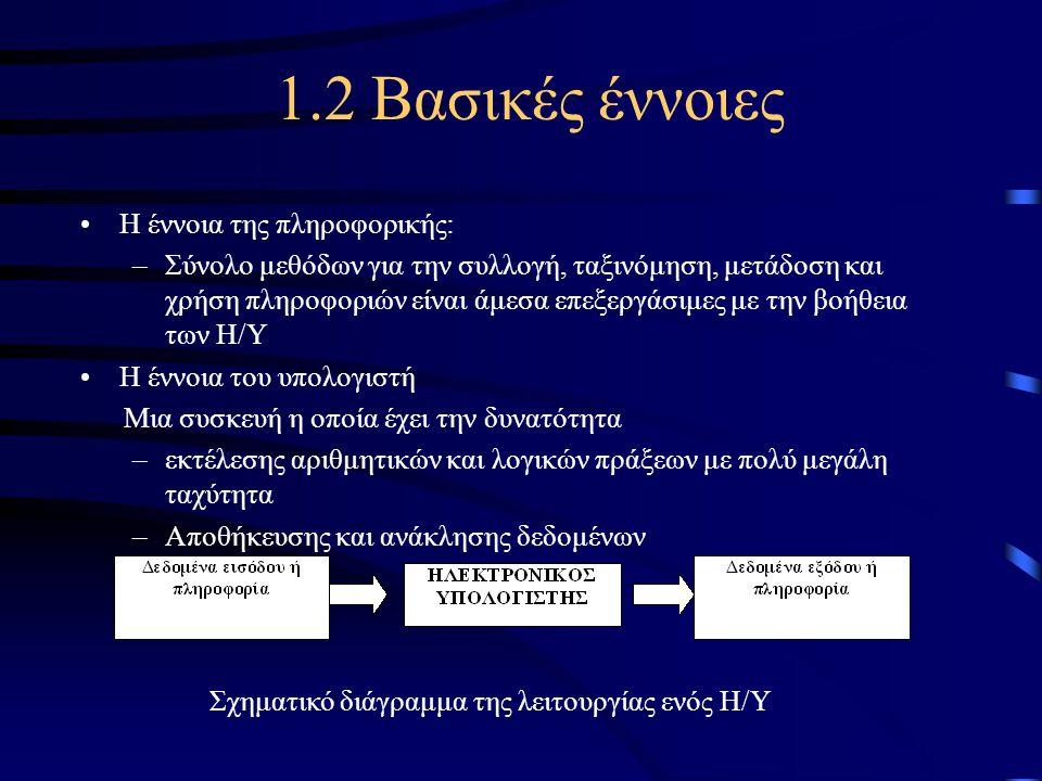 1.2 Βασικές έννοιες •Η έννοια της πληροφορικής: –Σύνολο μεθόδων για την συλλογή, ταξινόμηση, μετάδοση και χρήση πληροφοριών είναι άμεσα επεξεργάσιμες