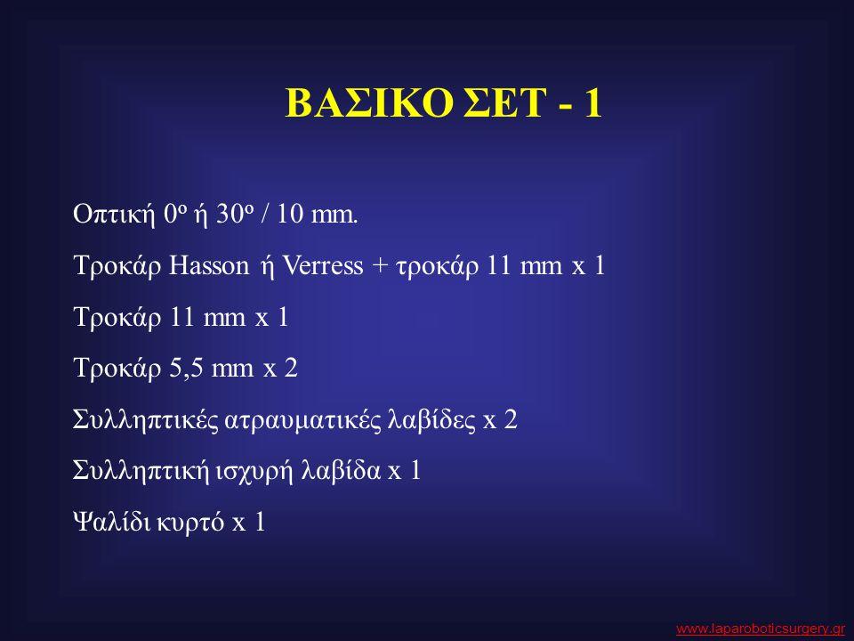 ΒΑΣΙΚΟ ΣΕΤ - 1 Οπτική 0 o ή 30 o / 10 mm. Τροκάρ Hasson ή Verress + τροκάρ 11 mm x 1 Τροκάρ 11 mm x 1 Τροκάρ 5,5 mm x 2 Συλληπτικές ατραυματικές λαβίδ