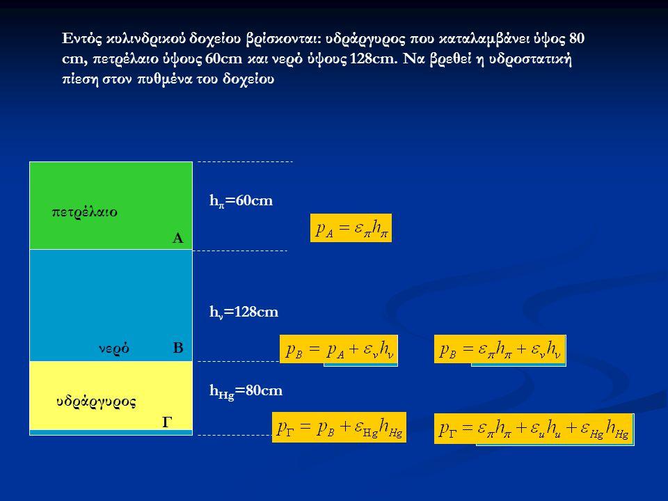 Εντός κυλινδρικού δοχείου βρίσκονται: υδράργυρος που καταλαμβάνει ύψος 80 cm, πετρέλαιο ύψους 60cm και νερό ύψους 128cm. Να βρεθεί η υδροστατική πίεση