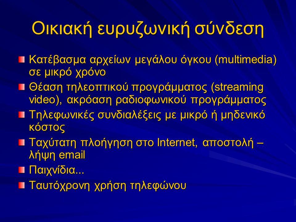 Οικιακή ευρυζωνική σύνδεση Κατέβασμα αρχείων μεγάλου όγκου (multimedia) σε μικρό χρόνο Θέαση τηλεοπτικού προγράμματος (streaming video), ακρόαση ραδιοφωνικού προγράμματος Τηλεφωνικές συνδιαλέξεις με μικρό ή μηδενικό κόστος Ταχύτατη πλοήγηση στο Internet, αποστολή – λήψη email Παιχνίδια...