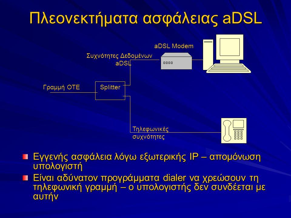 Πλεονεκτήματα ασφάλειας aDSL Εγγενής ασφάλεια λόγω εξωτερικής IP – απομόνωση υπολογιστή Είναι αδύνατον προγράμματα dialer να χρεώσουν τη τηλεφωνική γραμμή – ο υπολογιστής δεν συνδέεται με αυτήν Splitter aDSL Modem Γραμμή ΟΤΕ Τηλεφωνικές συχνότητες Συχνότητες Δεδομένων aDSL