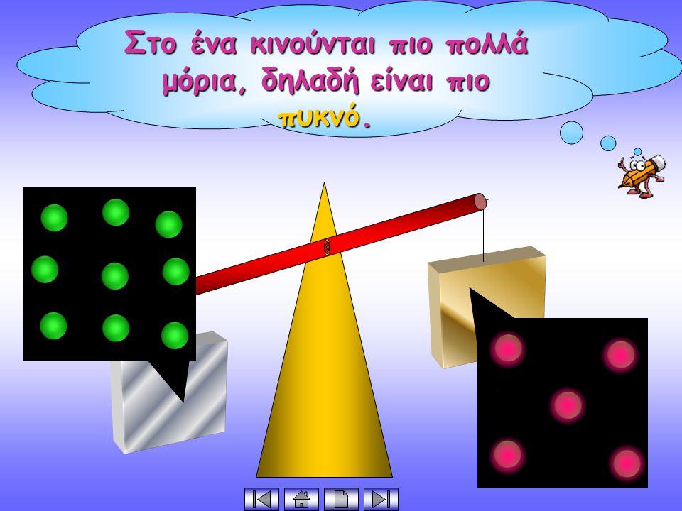 Στο ένα κινούνται πιο πολλά μόρια, δηλαδή είναι πιο πυκνό.