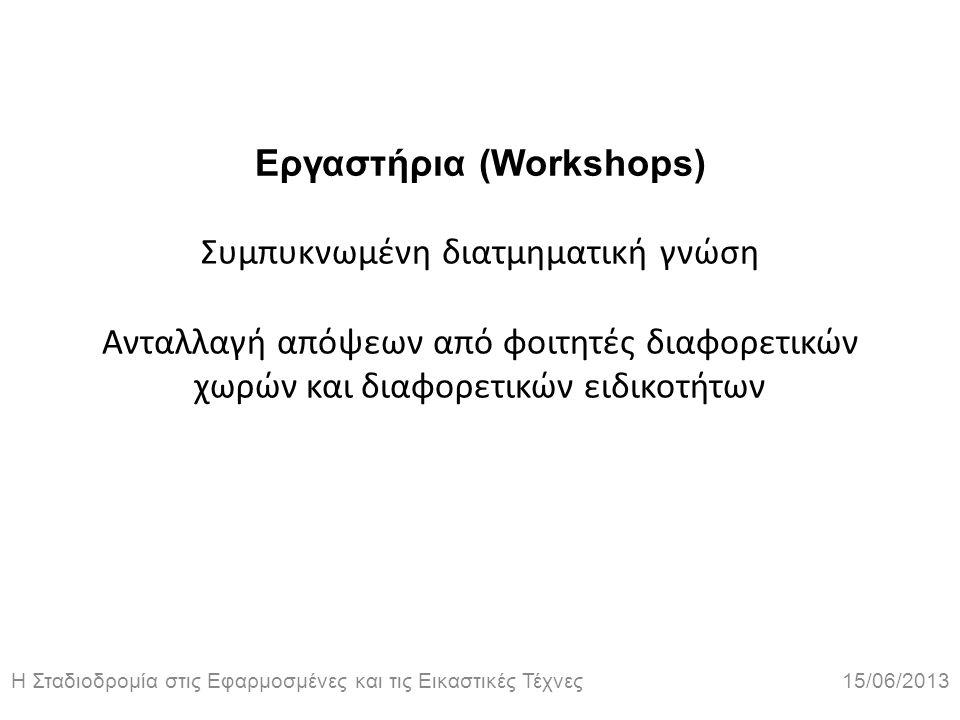 Η Σταδιοδρομία στις Εφαρμοσμένες και τις Εικαστικές Τέχνες 15/06/2013 Εργαστήρια (Workshops) Συμπυκνωμένη διατμηματική γνώση Ανταλλαγή απόψεων από φοι