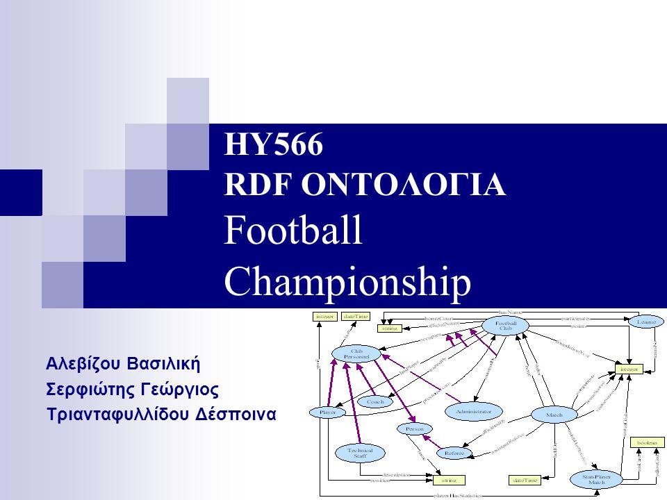 ΗΥ566 RDF ΟΝΤΟΛΟΓΙΑ Football Championship Αλεβίζου Βασιλική Σερφιώτης Γεώργιος Τριανταφυλλίδου Δέσποινα