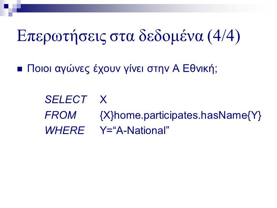 Επερωτήσεις στα δεδομένα (4/4)  Ποιοι αγώνες έχουν γίνει στην Α Εθνική; SELECTX FROM{X}home.participates.hasName{Y} WHEREY= A-National