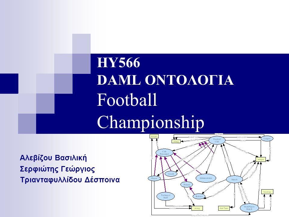 ΗΥ566 DAML ΟΝΤΟΛΟΓΙΑ Football Championship Αλεβίζου Βασιλική Σερφιώτης Γεώργιος Τριανταφυλλίδου Δέσποινα