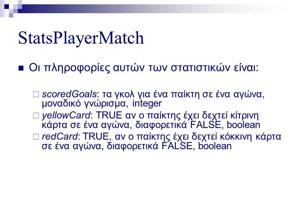 StatsPlayerMatch  Οι πληροφορίες αυτών των στατιστικών είναι:  scoredGoals: τα γκολ για ένα παίκτη σε ένα αγώνα, μοναδικό γνώρισμα, integer  yellowCard: TRUE αν ο παίκτης έχει δεχτεί κίτρινη κάρτα σε ένα αγώνα, διαφορετικά FALSE, boolean  redCard: TRUE, αν ο παίκτης έχει δεχτεί κόκκινη κάρτα σε ένα αγώνα, διαφορετικά FALSE, boolean