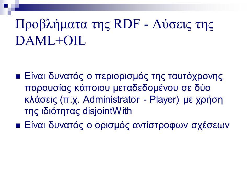 Προβλήματα της RDF - Λύσεις της DAML+OIL  Είναι δυνατός ο περιορισμός της ταυτόχρονης παρουσίας κάποιου μεταδεδομένου σε δύο κλάσεις (π.χ.