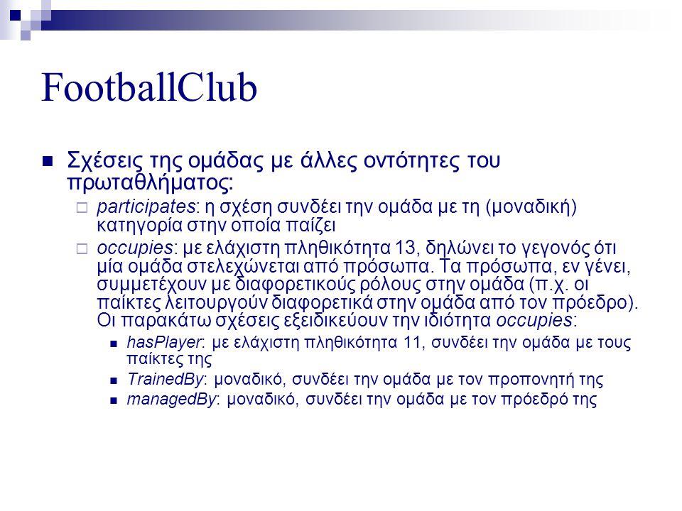 FootballClub  Σχέσεις της ομάδας με άλλες οντότητες του πρωταθλήματος:  participates: η σχέση συνδέει την ομάδα με τη (μοναδική) κατηγορία στην οποία παίζει  occupies: με ελάχιστη πληθικότητα 13, δηλώνει το γεγονός ότι μία ομάδα στελεχώνεται από πρόσωπα.