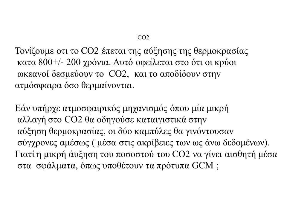 Τονίζουμε οτι το CO2 έπεται της αύξησης της θερμοκρασίας κατα 800+/- 200 χρόνια. Αυτό οφείλεται στο ότι οι κρύοι ωκεανοί δεσμεύουν το CO2, και το αποδ