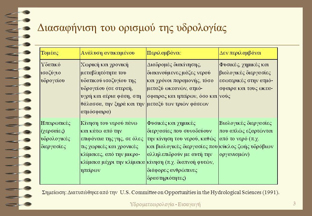 Υδρομετεωρολογία - Εισαγωγή 2 1. Γενικές έννοιες (ορισμοί, ιστορικό) Ορισμός της υδρολογίας 4 Υδρολογία (hydrology) είναι η επιστήμη που ασχολείται με