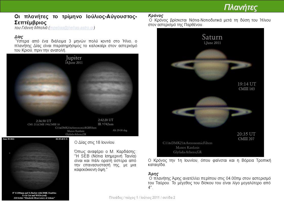 Πλανήτες Οι πλανήτες το τρίμηνο Ιούλιος-Αύγουστος- Σεπτέμβριος του Γιάννη Μπελιά (mpelias@hellas-astro.gr)mpelias@hellas-astro.gr Δίας Ύστερα από ένα διάλειμα 3 μηνών πολύ κοντά στο Ήλιο, ο πλανήτης Δίας είναι παρατηρήσιμος το καλοκαίρι στον αστερισμό του Κριού, πριν την ανατολή.