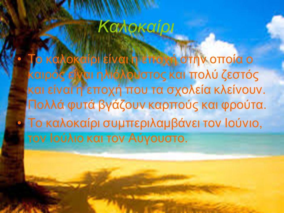 Καλοκαίρι •Το καλοκαίρι είναι η εποχή στην οποία ο καιρός είναι ηλιόλουστος και πολύ ζεστός και είναι η εποχή που τα σχολεία κλείνουν. Πολλά φυτά βγάζ