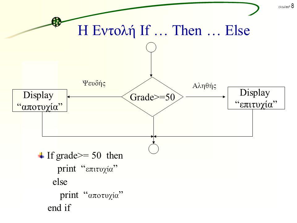 ck©ck© ckoullas © 7 Η Εντολή If … Then … Else Η γενική μορφή σύνταξης της εντολής είναι: IF THEN ELSE End If όπου: IF, THEN, ELSE : είναι δεσμευμένες λέξεις.