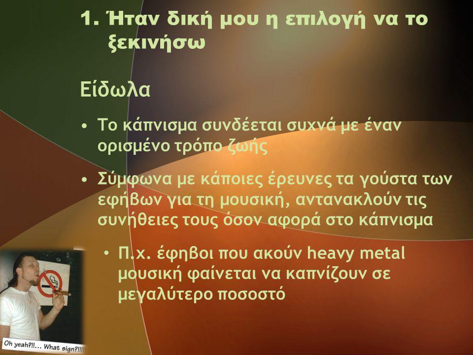 1. Ήταν δική μου η επιλογή να το ξεκινήσω Είδωλα •Το κάπνισμα συνδέεται συχνά με έναν ορισμένο τρόπο ζωής •Σύμφωνα με κάποιες έρευνες τα γούστα των εφ