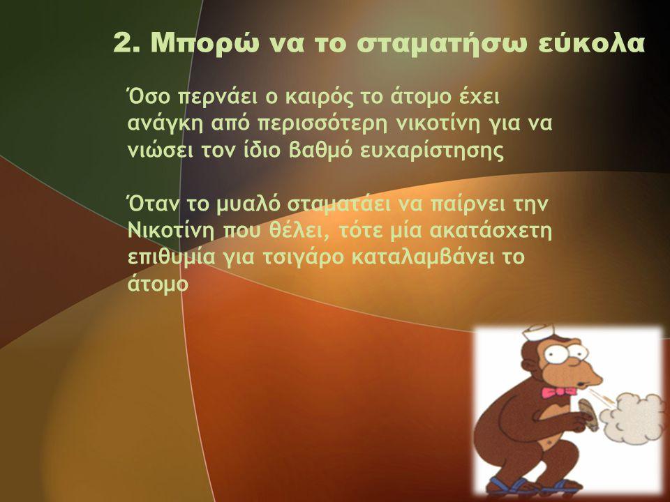 2. Μπορώ να το σταματήσω εύκολα Όσο περνάει ο καιρός το άτομο έχει ανάγκη από περισσότερη νικοτίνη για να νιώσει τον ίδιο βαθμό ευχαρίστησης Όταν το μ