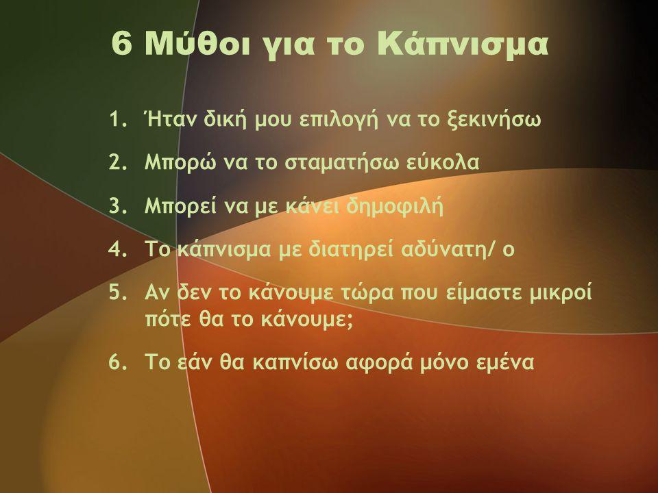 6 Μύθοι για το Κάπνισμα 1.Ήταν δική μου επιλογή να το ξεκινήσω 2.Μπορώ να το σταματήσω εύκολα 3.Μπορεί να με κάνει δημοφιλή 4.Το κάπνισμα με διατηρεί