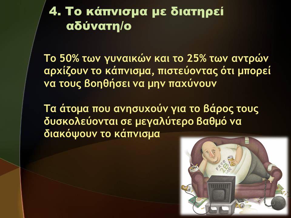 4. Το κάπνισμα με διατηρεί αδύνατη/ο Το 50% των γυναικών και το 25% των αντρών αρχίζουν το κάπνισμα, πιστεύοντας ότι μπορεί να τους βοηθήσει να μην πα