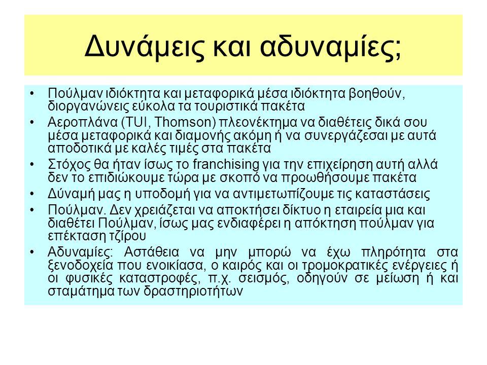 Δυνάμεις και αδυναμίες; •Πούλμαν ιδιόκτητα και μεταφορικά μέσα ιδιόκτητα βοηθούν, διοργανώνεις εύκολα τα τουριστικά πακέτα •Αεροπλάνα (TUI, Thomson) π