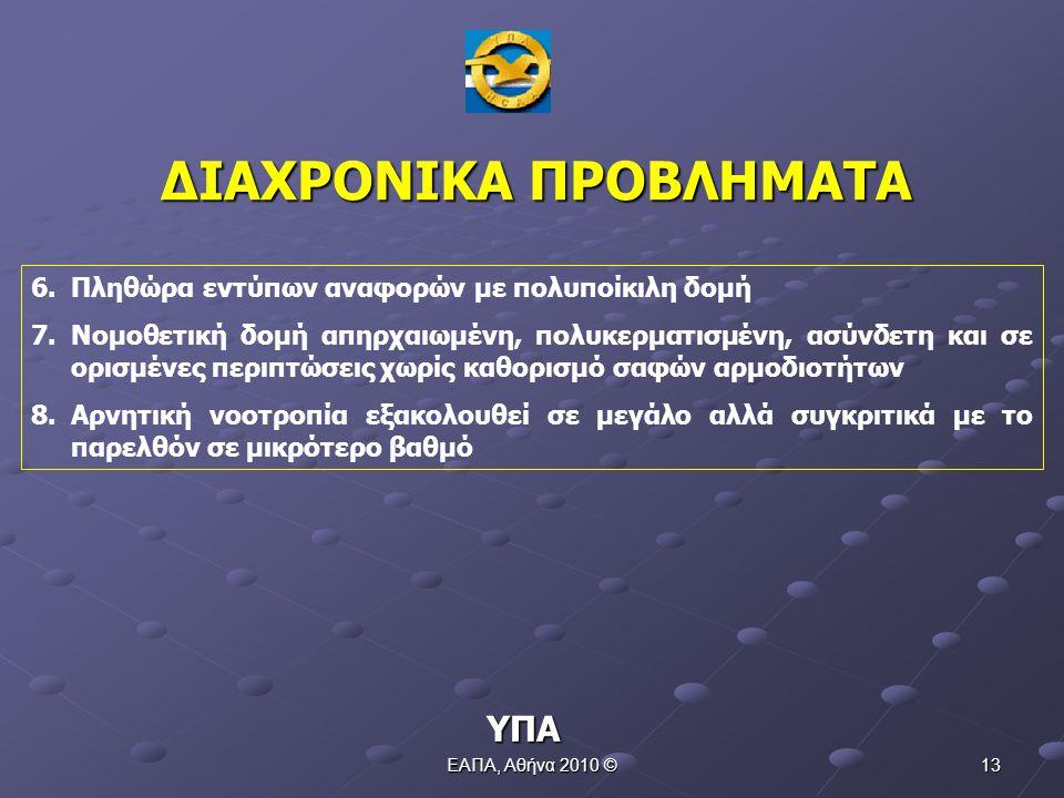 ΕΑΠΑ, Αθήνα 2010 © 12 1.Μη συστηματική αναφορά 2.Μη συμμετοχή όλου του προσωπικού 3.Ελλιπή στοιχεία κατά τη συμπλήρωση του εντύπου αναφοράς περιστατικών 4.Μη καθορισμός (στις περισσότερες Μονάδες) υπεύθυνου περιστατικών (για όλο το φάσμα εκμετάλλευσης) 5.Λάθος η θεώρηση ότι το δελτίο συμβάντων αποτελεί σωστό τρόπο αναφοράς περιστατικού.