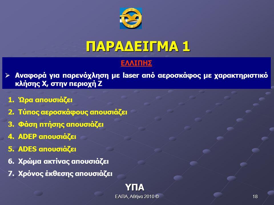 ΕΑΠΑ, Αθήνα 2010 © 17 Η πληθώρα και συνεχής (συστημική) ροή αναφορών οδήγησε στην αποκάλυψη και προσδιορισμό του προβλήματος, την περαιτέρω έρευνα και ενασχόληση και την έκδοση του ΕΣΑΠ ΠΕΡΙΠΤΩΣΗ LASER ΥΠΑ