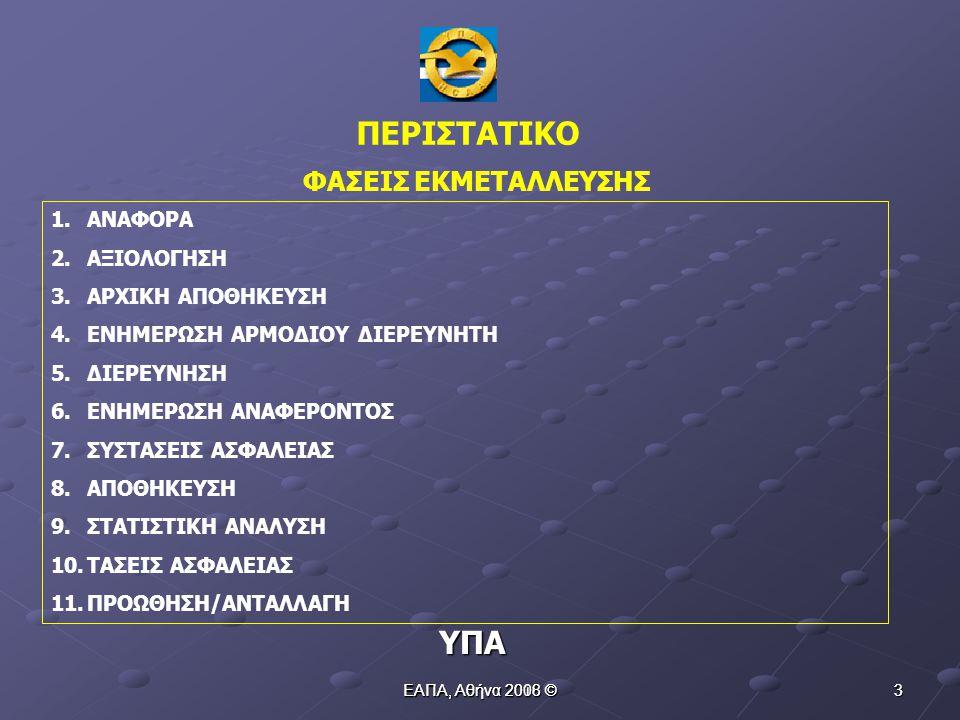 ΕΑΠΑ, Αθήνα 2010 © 13 ΔΙΑΧΡΟΝΙΚΑ ΠΡΟΒΛΗΜΑΤΑ ΥΠΑ 6.Πληθώρα εντύπων αναφορών με πολυποίκιλη δομή 7.Νομοθετική δομή απηρχαιωμένη, πολυκερματισμένη, ασύνδετη και σε ορισμένες περιπτώσεις χωρίς καθορισμό σαφών αρμοδιοτήτων 8.Αρνητική νοοτροπία εξακολουθεί σε μεγάλο αλλά συγκριτικά με το παρελθόν σε μικρότερο βαθμό