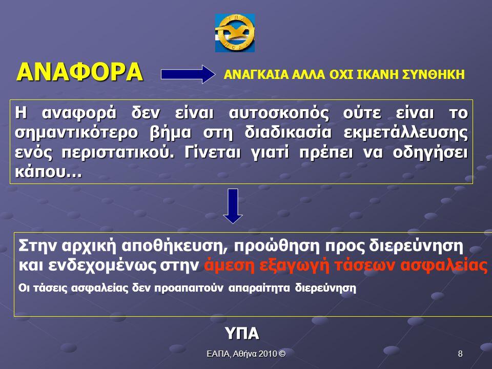 ΕΑΠΑ, Αθήνα 2010 © 18 ΕΛΛΙΠΗΣ  Αναφορά για παρενόχληση με laser από αεροσκάφος με χαρακτηριστικό κλήσης Χ, στην περιοχή Z ΠΑΡΑΔΕΙΓΜΑ 1 ΥΠΑ 1.Ώρα απουσιάζει 2.Τύπος αεροσκάφους απουσιάζει 3.Φάση πτήσης απουσιάζει 4.ADEP απουσιάζει 5.ADES απουσιάζει 6.Χρώμα ακτίνας απουσιάζει 7.Χρόνος έκθεσης απουσιάζει
