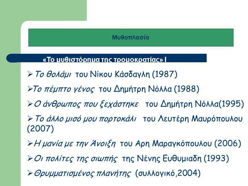 Μυθοπλασία «Το μυθιστόρημα της τρομοκρατίας» I Ι  Ο καιρός του καθενός του Δημήτρη Νόλλα (2010)  Οι σχοινοβάτες της Αφροδίτης Κουκουτσάκη (2002)  Το σπίτι και το κελί του Χρήστου Χωμενίδη (2005)  Τέσσερις ελληνικοί φόνοι του Αλέξη Πανσέληνου (2004)