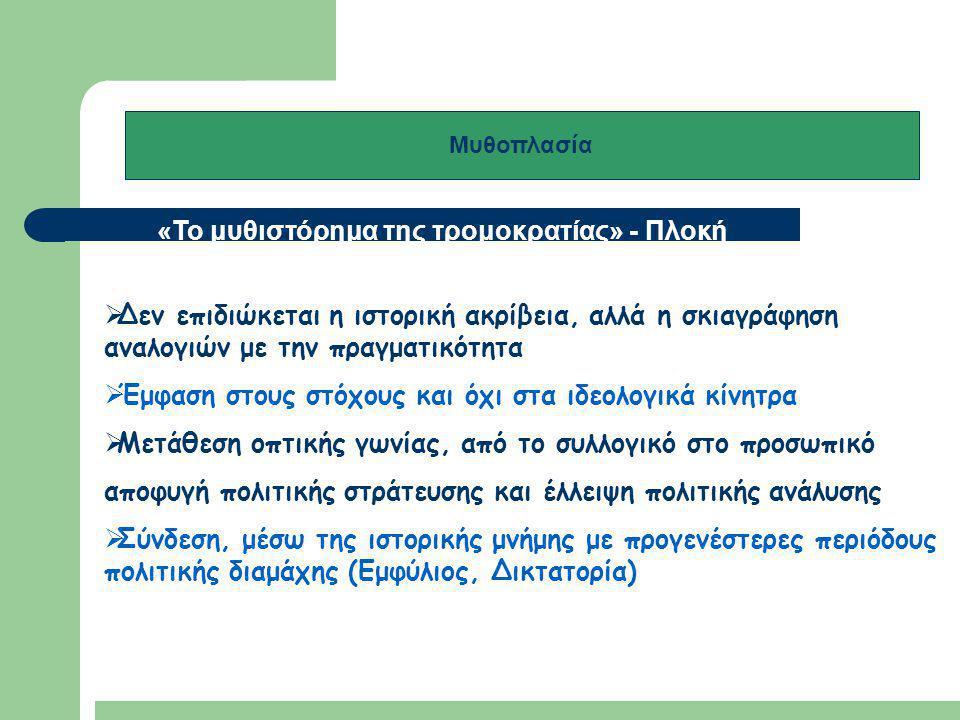 Μυθοπλασία και τρομοκρατία «Το μυθιστόρημα της τρομοκρατίας»  Διάκριση χρονικών επιπέδων ('πριν' και 'μετά' την τρομοκρατική ενέργεια ή την ανάληψη τρομοκρατικής δράσης) / «μια νοητική ρήξη στην εμπειρία του χρόνου»  Ο 'ενδιάμεσος χρόνος' (η στιγμή δράσης) απουσιάζει  Χρονική οργάνωση μέσω αναδρομικών αφηγήσεων  Επικέντρωση στο πρόσωπο του 'θύτη-τρομοκράτη΄ και όχι των θυμάτων' - τραγική κατάληξη