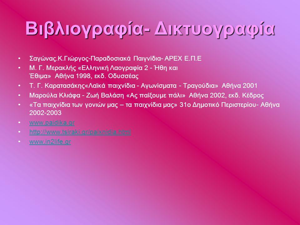 Βιβλιογραφία- Δικτυογραφία •Σαγώνας.Κ.Γιώργος-Παραδοσιακά Παιγνίδια- APEX E.Π.Ε •Μ. Γ. Μερακλής «Ελληνική Λαογραφία 2 - Ήθη και Έθιµα» Αθήνα 1998, εκδ