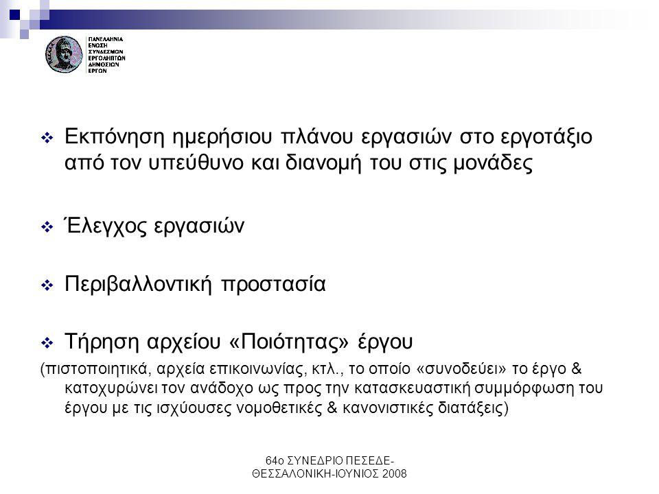 64ο ΣΥΝΕΔΡΙΟ ΠΕΣΕΔΕ- ΘΕΣΣΑΛΟΝΙΚΗ-ΙΟΥΝΙΟΣ 2008  Εκπόνηση ημερήσιου πλάνου εργασιών στο εργοτάξιο από τον υπεύθυνο και διανομή του στις μονάδες  Έλεγχ