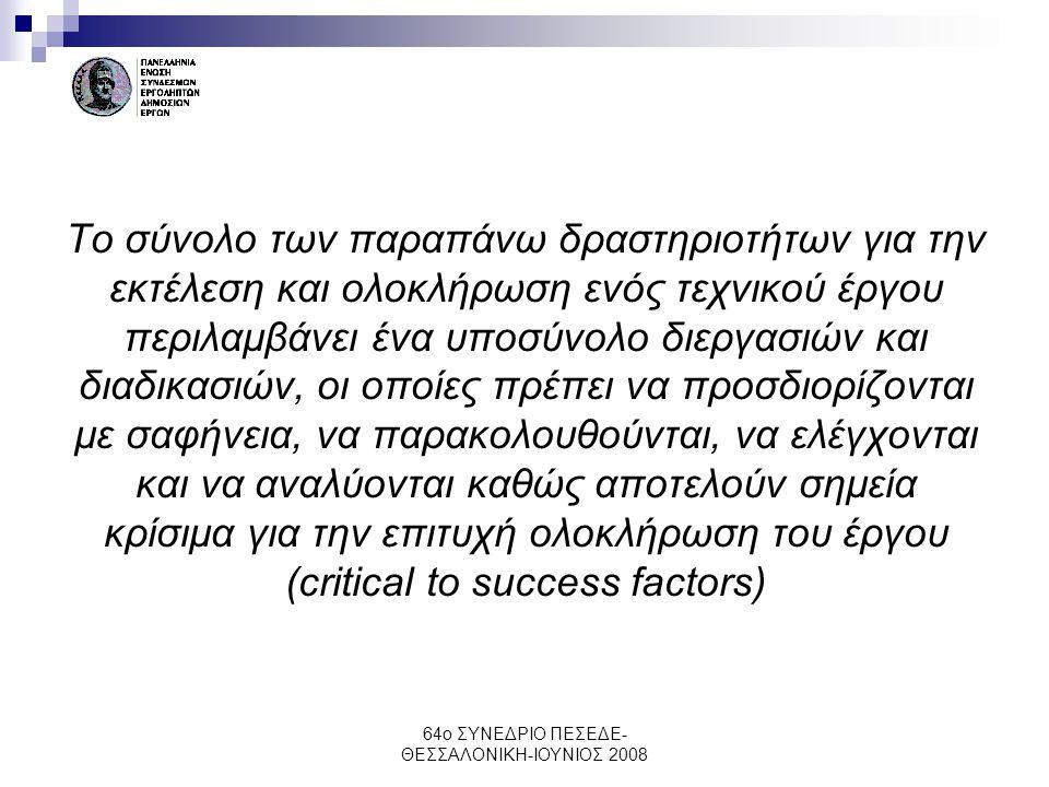 64ο ΣΥΝΕΔΡΙΟ ΠΕΣΕΔΕ- ΘΕΣΣΑΛΟΝΙΚΗ-ΙΟΥΝΙΟΣ 2008 Το σύνολο των παραπάνω δραστηριοτήτων για την εκτέλεση και ολοκλήρωση ενός τεχνικού έργου περιλαμβάνει έ