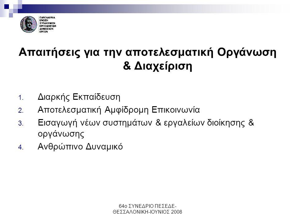 64ο ΣΥΝΕΔΡΙΟ ΠΕΣΕΔΕ- ΘΕΣΣΑΛΟΝΙΚΗ-ΙΟΥΝΙΟΣ 2008 Απαιτήσεις για την αποτελεσματική Οργάνωση & Διαχείριση 1. Διαρκής Εκπαίδευση 2. Αποτελεσματική Αμφίδρομ