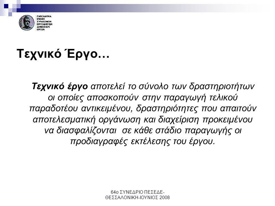 64ο ΣΥΝΕΔΡΙΟ ΠΕΣΕΔΕ- ΘΕΣΣΑΛΟΝΙΚΗ-ΙΟΥΝΙΟΣ 2008 Νέες προκλήσεις συνέχεια..