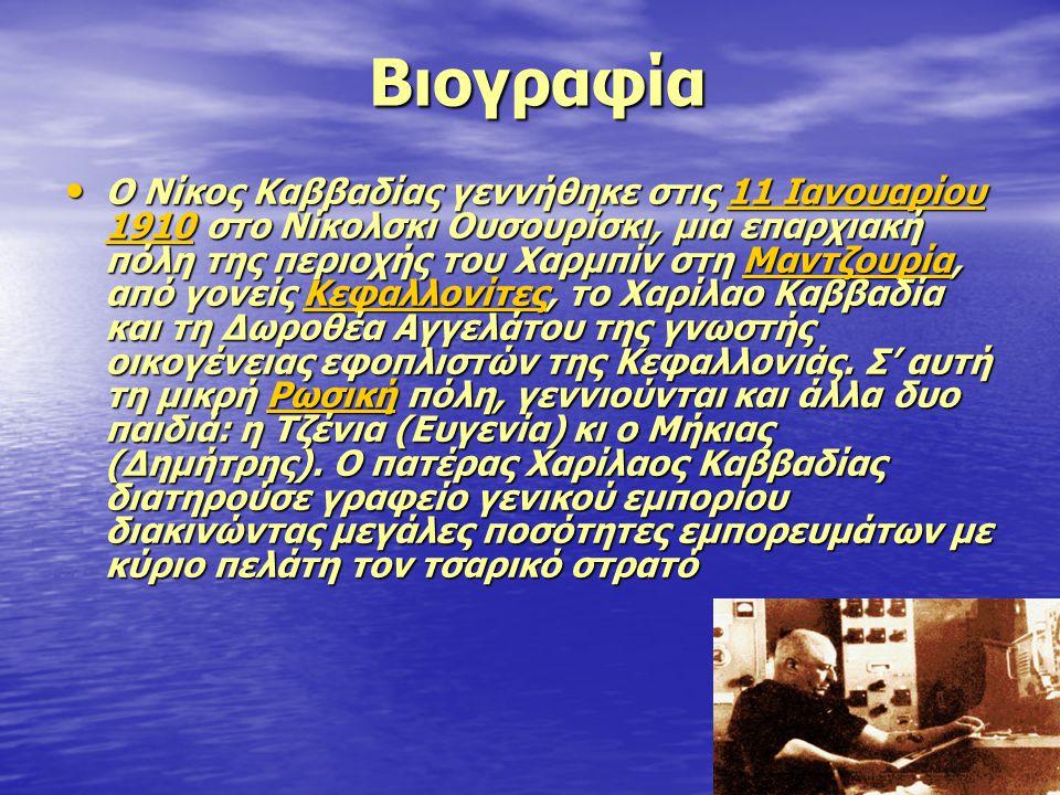 Βιογραφία Βιογραφία • Ο Νίκος Καββαδίας γεννήθηκε στις 11 Ιανουαρίου 1910 στο Νίκολσκι Ουσουρίσκι, μια επαρχιακή πόλη της περιοχής του Χαρμπίν στη Μαν