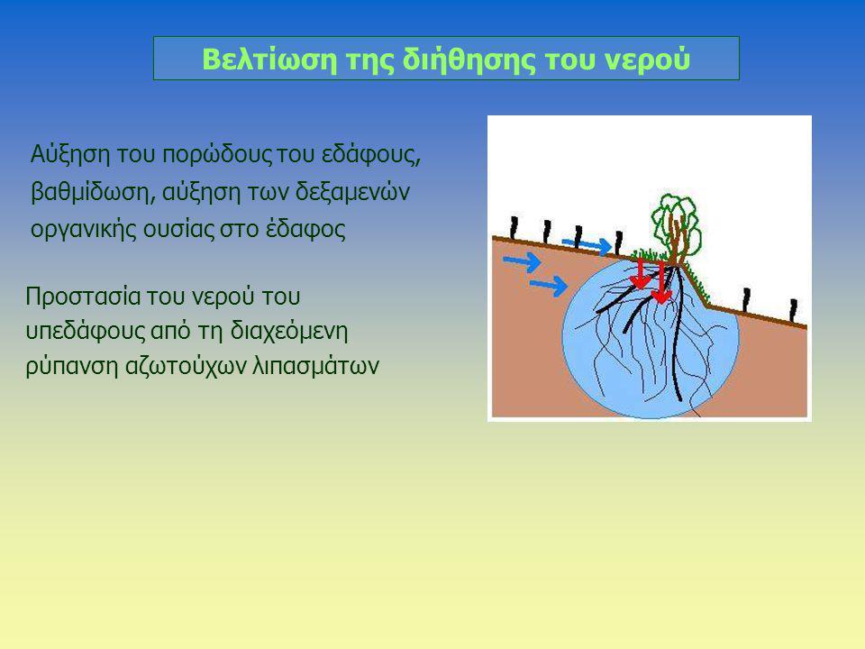Βελτίωση της διήθησης του νερού Αύξηση του πορώδους του εδάφους, βαθμίδωση, αύξηση των δεξαμενών οργανικής ουσίας στο έδαφος Προστασία του νερού του υ
