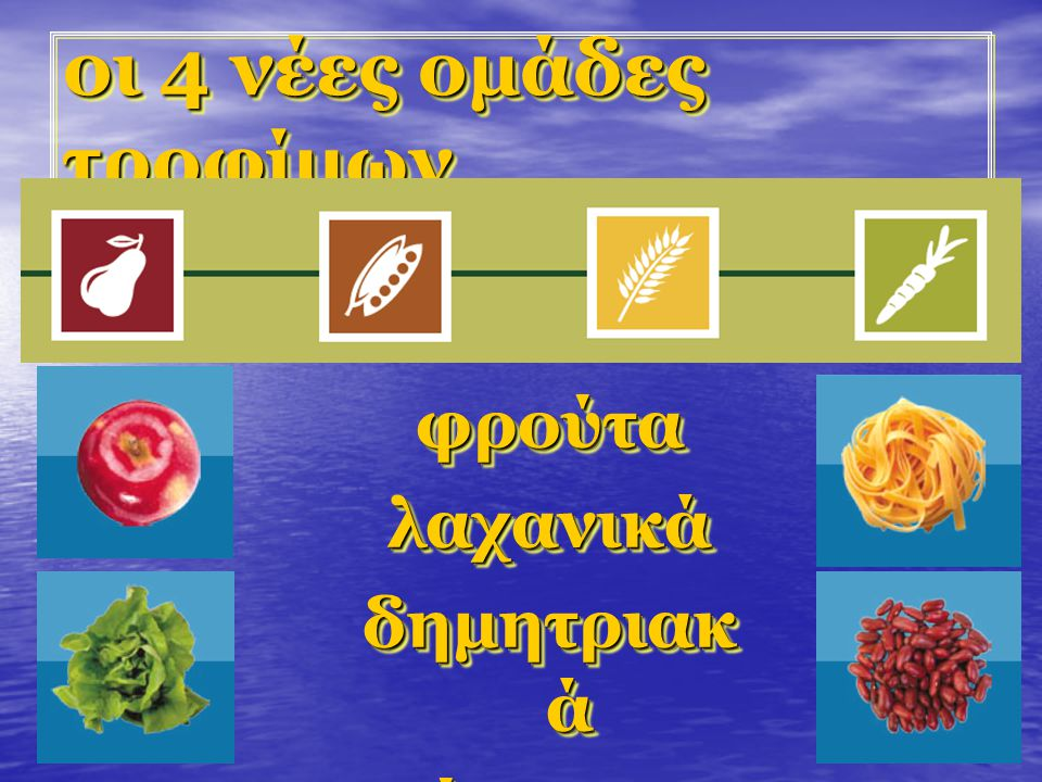 οι 4 νέες ομάδες τροφίμων φρούταλαχανικά δημητριακ ά όσπριαφρούταλαχανικά όσπρια