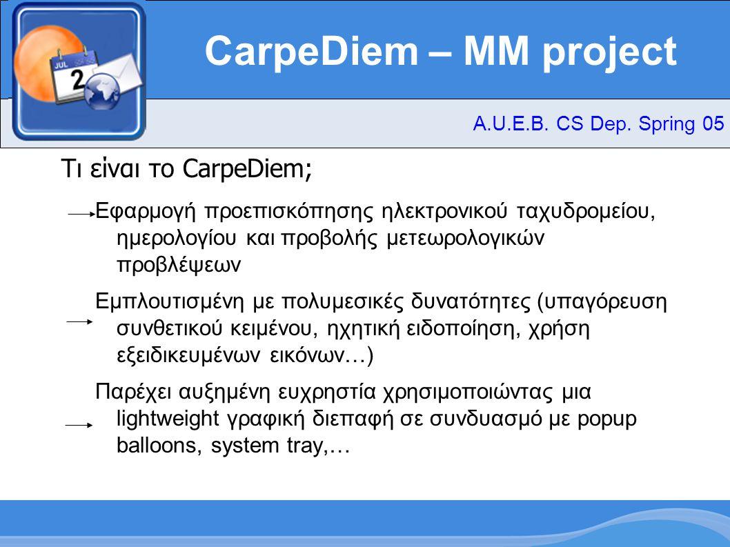 CarpeDiem – MM project Τι είναι το CarpeDiem; Εφαρμογή προεπισκόπησης ηλεκτρονικού ταχυδρομείου, ημερολογίου και προβολής μετεωρολογικών προβλέψεων Εμπλουτισμένη με πολυμεσικές δυνατότητες (υπαγόρευση συνθετικού κειμένου, ηχητική ειδοποίηση, χρήση εξειδικευμένων εικόνων…) Παρέχει αυξημένη ευχρηστία χρησιμοποιώντας μια lightweight γραφική διεπαφή σε συνδυασμό με popup balloons, system tray,… A.U.E.B.