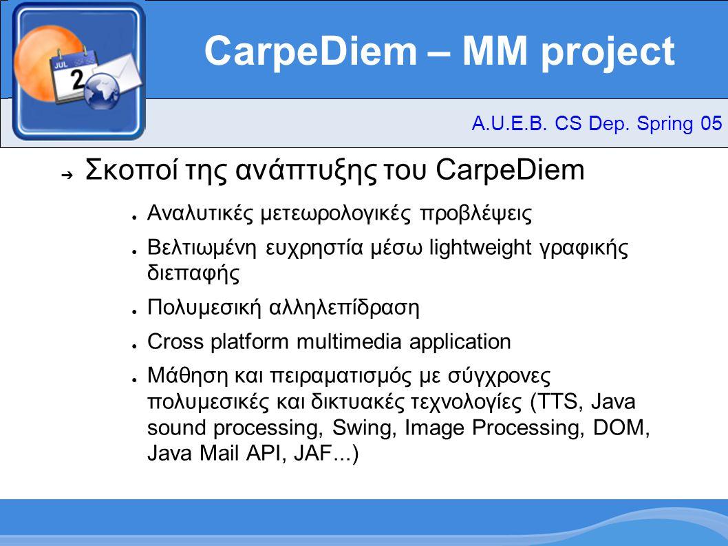 CarpeDiem – MM project ➔ Σκοποί της ανάπτυξης του CarpeDiem ● Αναλυτικές μετεωρολογικές προβλέψεις ● Βελτιωμένη ευχρηστία μέσω lightweight γραφικής διεπαφής ● Πολυμεσική αλληλεπίδραση ● Cross platform multimedia application ● Μάθηση και πειραματισμός με σύγχρονες πολυμεσικές και δικτυακές τεχνολογίες (TTS, Java sound processing, Swing, Image Processing, DOM, Java Mail API, JAF...) A.U.E.B.
